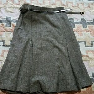 New fit and flare midi grey skirt with belt.Size 6